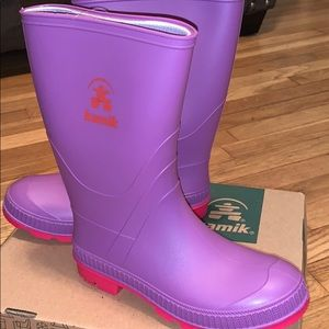 Kamik Purple Stomp  Rainboots NIB Size 4